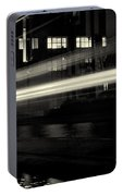 Night Train Black And White Portable Battery Charger