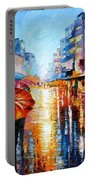 Night Umbrellas - Palette Knife Oil Painting On Canvas By Leonid Afremov Portable Battery Charger