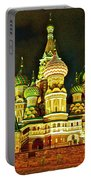 Night View Of Saint Basil Cathedral In Red Square In Moscow-russia Portable Battery Charger