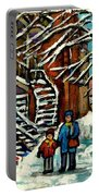 No School Today Out For A Snowy Walk Verdun Winter Winding Staircases Montreal Paintings C Spandau Portable Battery Charger