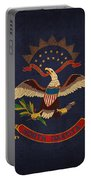 North Dakota State Flag Art On Worn Canvas Portable Battery Charger