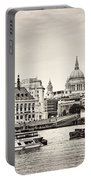 North Side Of The Thames Bw Portable Battery Charger