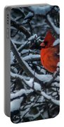 Northern Cardinal In Winter Portable Battery Charger
