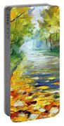November Alley - Palette Knife Landscape Autumn Alley Oil Painting On Canvas By Leonid Afremov - Siz Portable Battery Charger