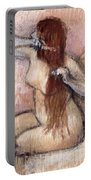 Nude Seated Woman Arranging Her Hair Femme Nu Assise Se Coiffant Portable Battery Charger