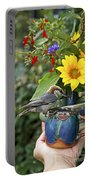 Nuthatch Bird Having Tea Portable Battery Charger