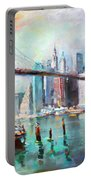 Ny City Brooklyn Bridge II Portable Battery Charger by Ylli Haruni