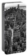 Nyc Downtown - Black And White Portable Battery Charger