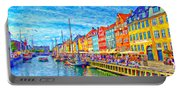 Nyhavn In Denmark Painting Portable Battery Charger