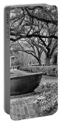 Oak Alley Plantation Landscape In Bw Portable Battery Charger