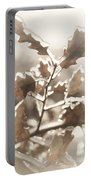 Oak Tree Leaves Frozen In Ice Portable Battery Charger