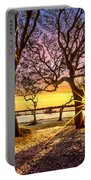 Oak Trees At Sunrise Portable Battery Charger