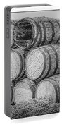 Oak Wine Barrels Black And White Portable Battery Charger