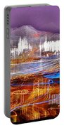 Ocean City By Night - Abstract Purple Portable Battery Charger