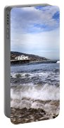 Ocean Waves Blue Sky And A Surfer At Malibu Beach Pier Portable Battery Charger