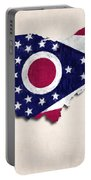 Ohio Map Art With Flag Design Portable Battery Charger