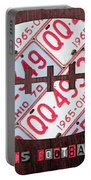 Ohio State Buckeyes Football Recycled License Plate Art Portable Battery Charger
