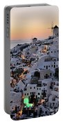Oia Town During Sunset Portable Battery Charger