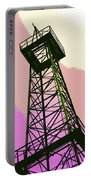 Oil Derrick In Pink Portable Battery Charger