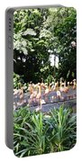 Oil Painting - A Number Of Flamingos Surrounded By Greenery In Their Enclosure  Portable Battery Charger