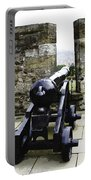 Oil Painting - Cannons And Cannon Balls At Walls Of Stirling Castle Portable Battery Charger