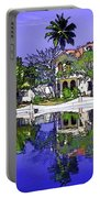 Oil Painting - Cottages And Lagoon Water Portable Battery Charger