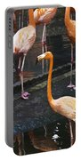 Oil Painting - Focus On A Single Flamingo Inside The Jurong Bird Park Portable Battery Charger