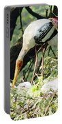 Oil Painting - Mama Stork Feeding Young Portable Battery Charger