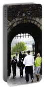 Oil Painting - Staff And Tourists At The Entrance Of Stirling Castle Portable Battery Charger