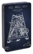Oil Well Rig Patent From 1893 - Navy Blue Portable Battery Charger