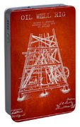 Oil Well Rig Patent From 1893 - Red Portable Battery Charger