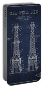 Oil Well Rig Patent From 1927 - Navy Blue Portable Battery Charger