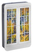 Old 16 Pane White Window Colorful Fall Aspen View  Portable Battery Charger