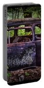 Old Abandoned Car In The Woods Portable Battery Charger