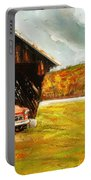 Old Barn And Red Truck Portable Battery Charger