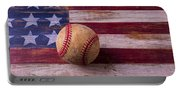 Old Baseball On American Flag Portable Battery Charger