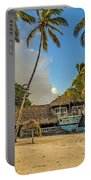 Old Boat On The Beach Portable Battery Charger