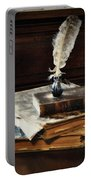 Old Books And A Quill Portable Battery Charger by Mary Machare