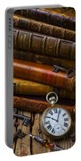 Old Books And Pocketwatch Portable Battery Charger