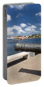 Old Cannon And Queen Juliana Bridge Curacao Portable Battery Charger