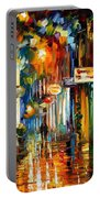 Old City Street - Palette Knife Oil Painting On Canvas By Leonid Afremov Portable Battery Charger