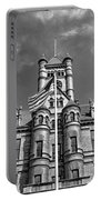 Old Dupage County Courthouse Flag Black And White Portable Battery Charger