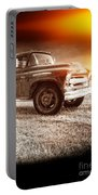 Old Farm Truck With Explosion At Night Portable Battery Charger