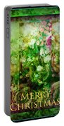 Old Fashioned Merry Christmas - Roses And Babys Breath - Holiday And Christmas Card Portable Battery Charger
