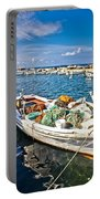 Old Fishing Wooden Boat With Nets Portable Battery Charger