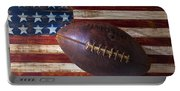 Old Football On American Flag Portable Battery Charger