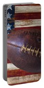 Old Football On American Flag Portable Battery Charger by Garry Gay