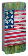Old Glory In Wood Impression Portable Battery Charger