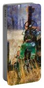 Old Green Tractor On The Farm Portable Battery Charger