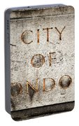 Old Grunge Stone Board With City Of London Text Portable Battery Charger